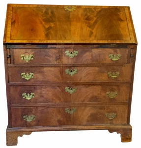 English Walnut Veneer Slant Front Desk, circa 1775