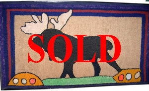 """The Moose,"" American Hooked Rug from the Kristina Barbara Johnson Folk Art Collection."