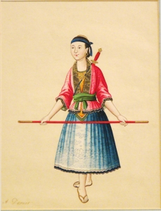 Chinese Watercolor:  A Dancer