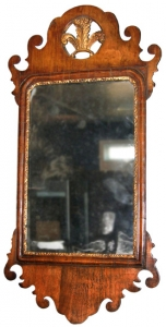 English Burl Walnut Mirror