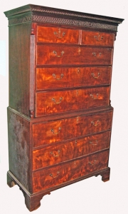 English 18th C. Style Chest on Chest with Secretary
